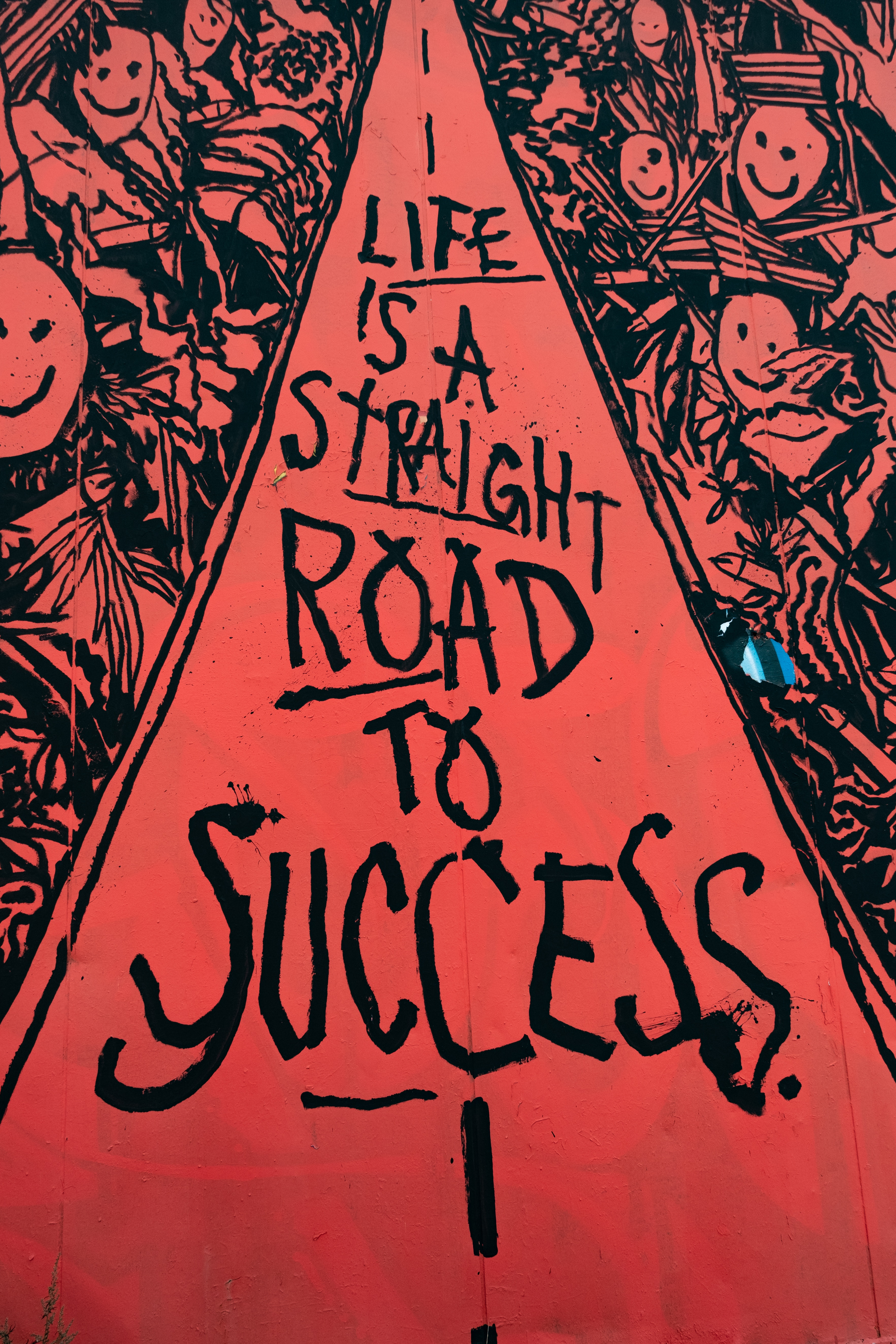 Red road says life is a straight road to success